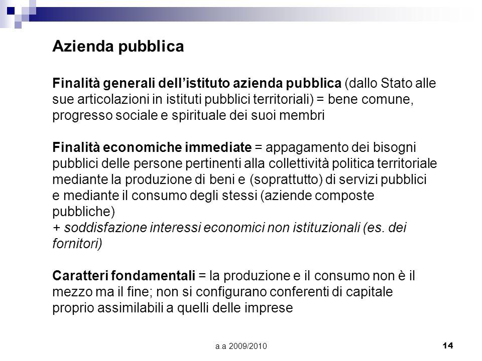 Azienda pubblica Finalità generali dell'istituto azienda pubblica (dallo Stato alle.
