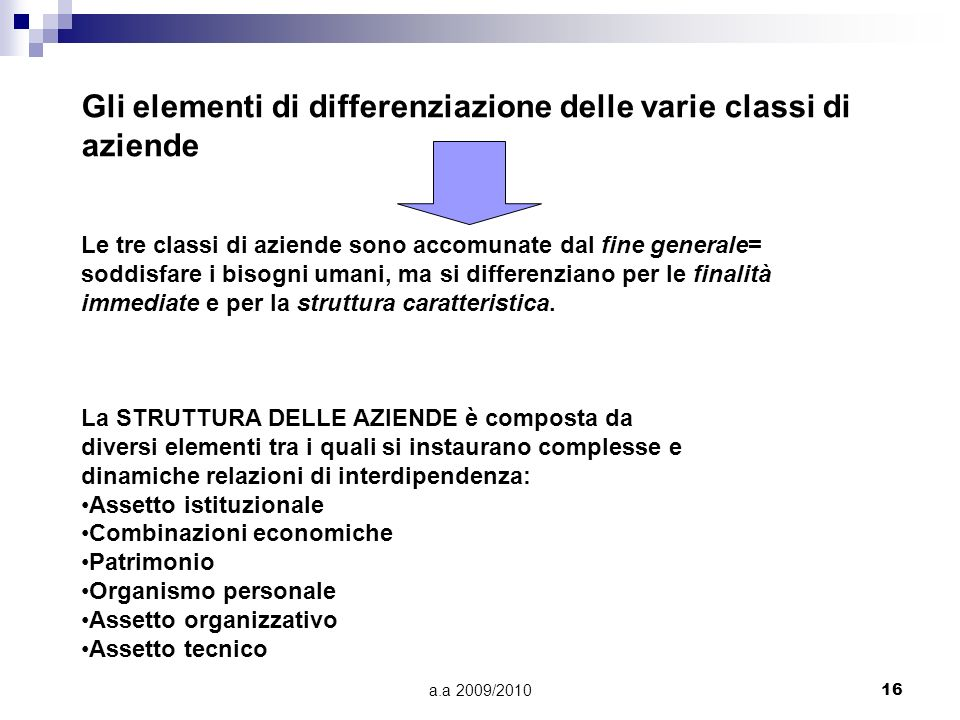 Gli elementi di differenziazione delle varie classi di aziende