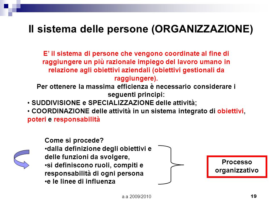 Il sistema delle persone (ORGANIZZAZIONE)