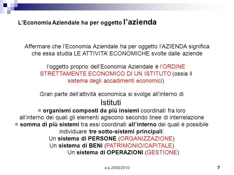 Istituti L'Economia Aziendale ha per oggetto l'azienda