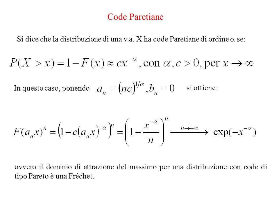 Code ParetianeSi dice che la distribuzione di una v.a. X ha code Paretiane di ordine  se: In questo caso, ponendo.