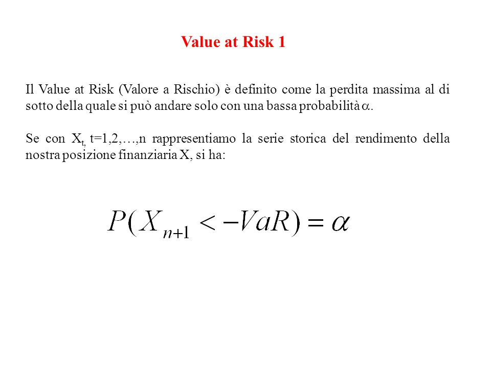 Value at Risk 1