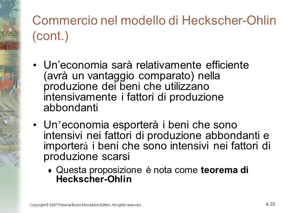 Commercio nel modello di Heckscher-Ohlin (cont.)