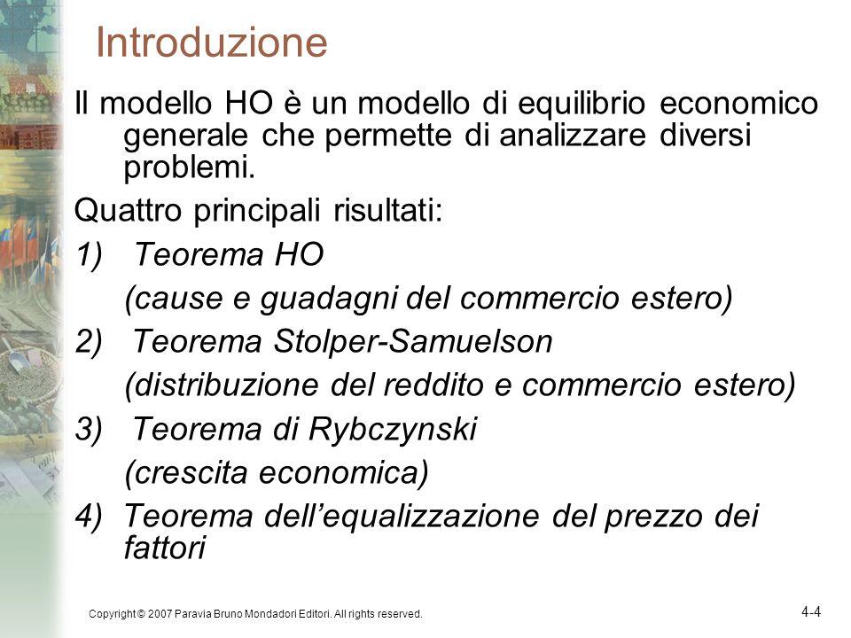 Introduzione Il modello HO è un modello di equilibrio economico generale che permette di analizzare diversi problemi.