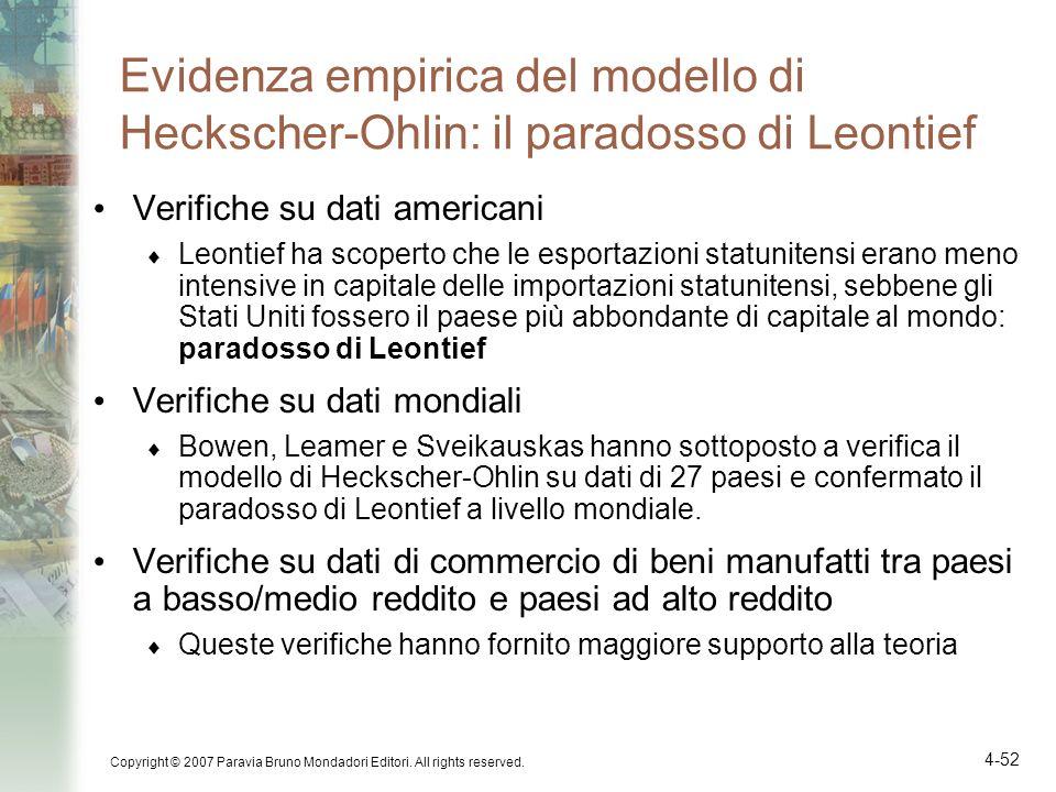 Evidenza empirica del modello di Heckscher-Ohlin: il paradosso di Leontief