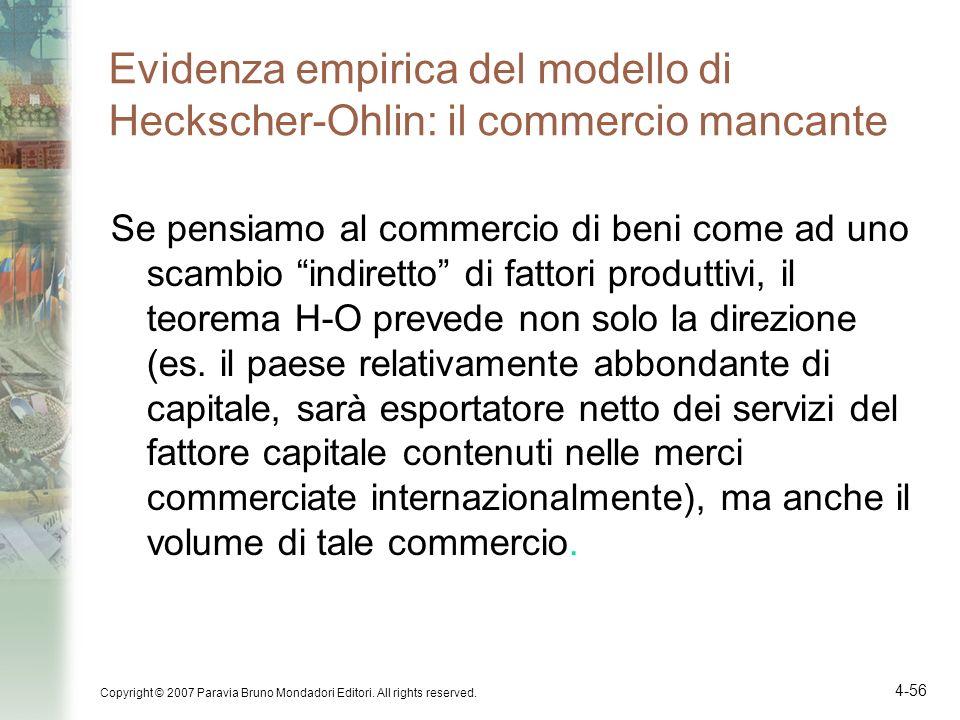 Evidenza empirica del modello di Heckscher-Ohlin: il commercio mancante