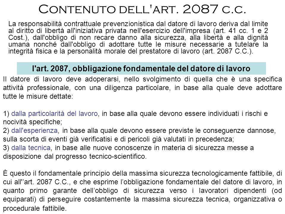 l art. 2087, obbligazione fondamentale del datore di lavoro