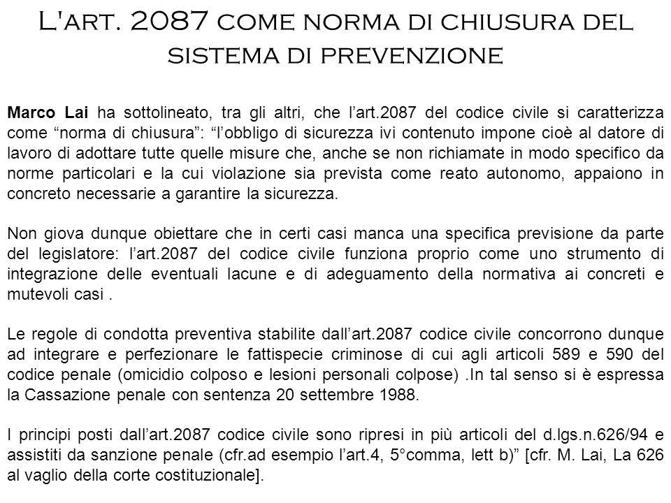 L art. 2087 come norma di chiusura del sistema di prevenzione