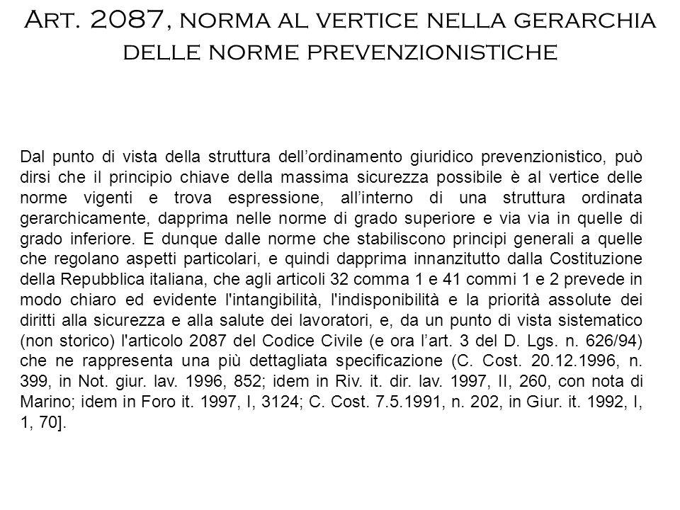 Art. 2087, norma al vertice nella gerarchia delle norme prevenzionistiche