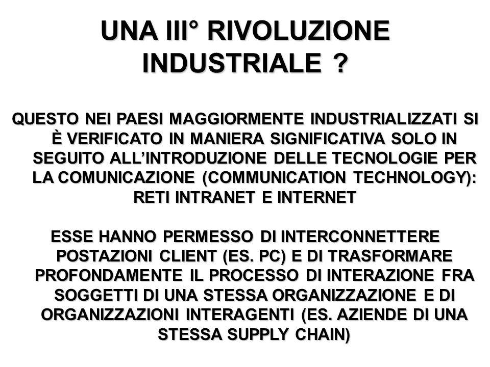 UNA III° RIVOLUZIONE INDUSTRIALE RETI INTRANET E INTERNET