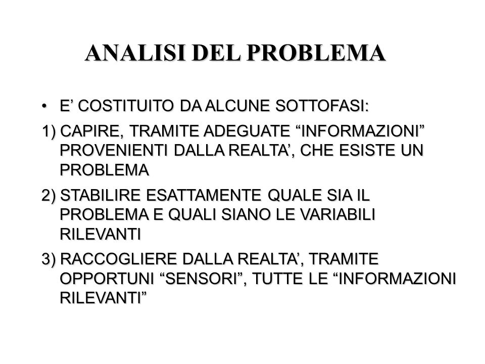 ANALISI DEL PROBLEMA E' COSTITUITO DA ALCUNE SOTTOFASI: