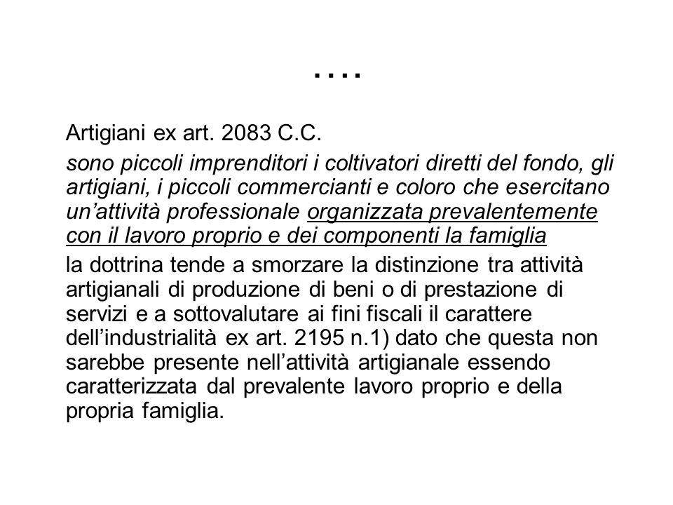 …. Artigiani ex art. 2083 C.C.