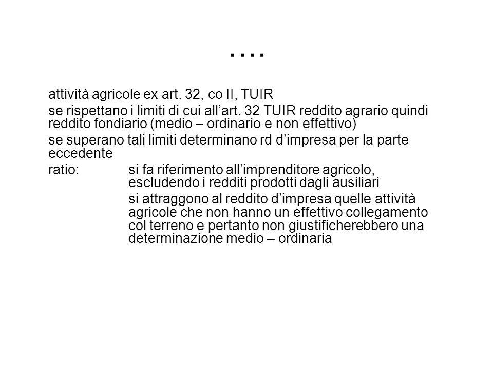 …. attività agricole ex art. 32, co II, TUIR