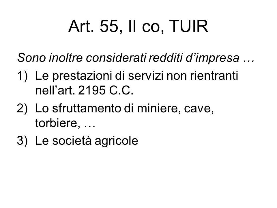 Art. 55, II co, TUIR Sono inoltre considerati redditi d'impresa …