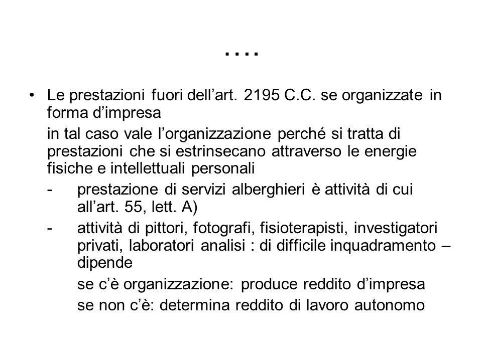 ….Le prestazioni fuori dell'art. 2195 C.C. se organizzate in forma d'impresa.