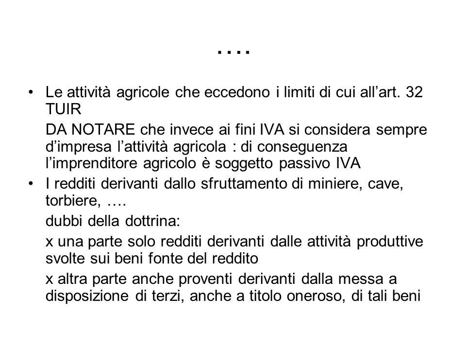 …. Le attività agricole che eccedono i limiti di cui all'art. 32 TUIR
