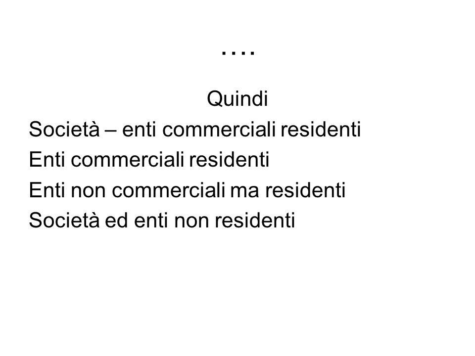 …. Quindi Società – enti commerciali residenti