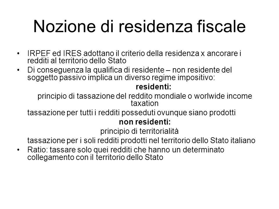 Nozione di residenza fiscale