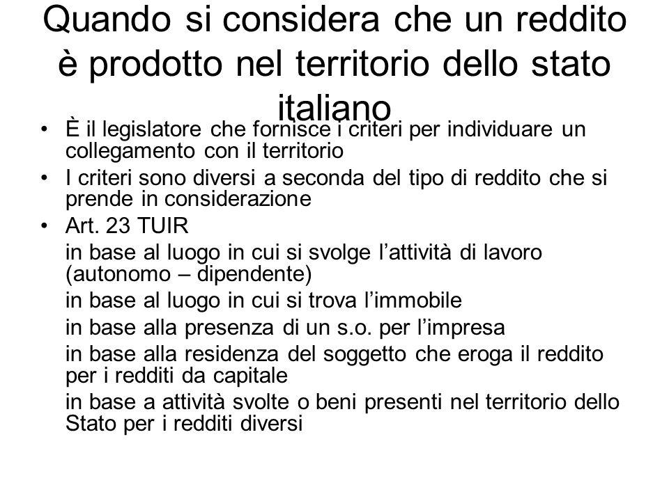 Quando si considera che un reddito è prodotto nel territorio dello stato italiano