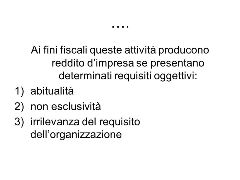 ….Ai fini fiscali queste attività producono reddito d'impresa se presentano determinati requisiti oggettivi: