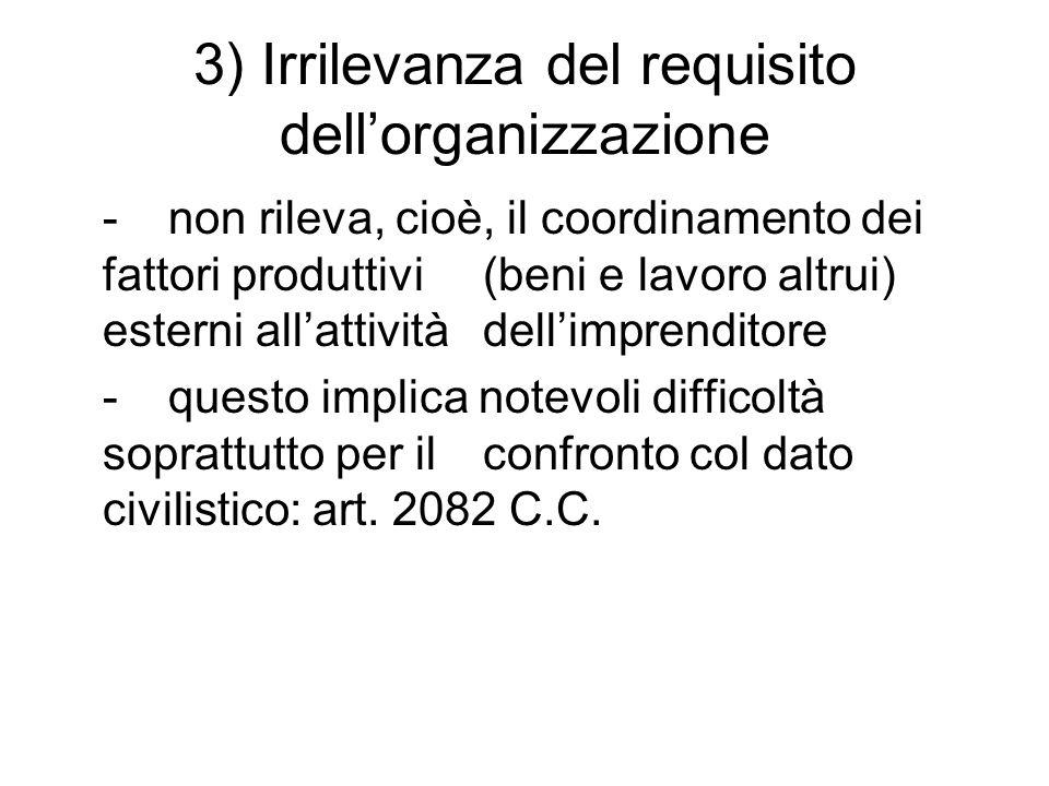 3) Irrilevanza del requisito dell'organizzazione