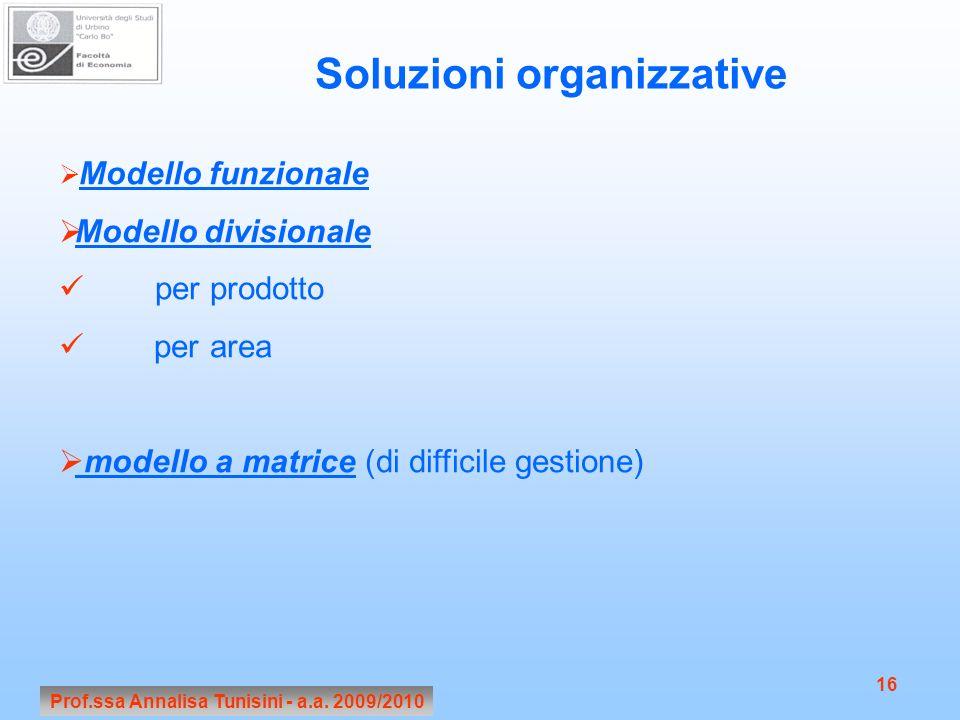 Soluzioni organizzative Prof.ssa Annalisa Tunisini - a.a. 2009/2010