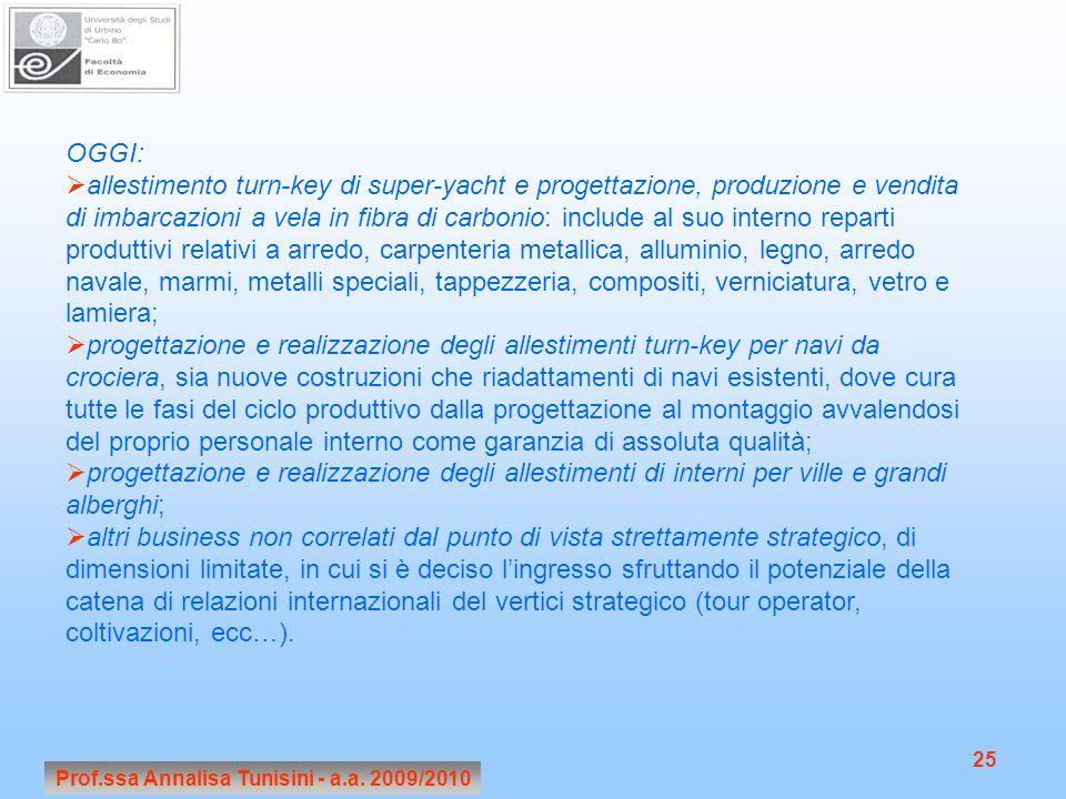 Prof.ssa Annalisa Tunisini - a.a. 2009/2010