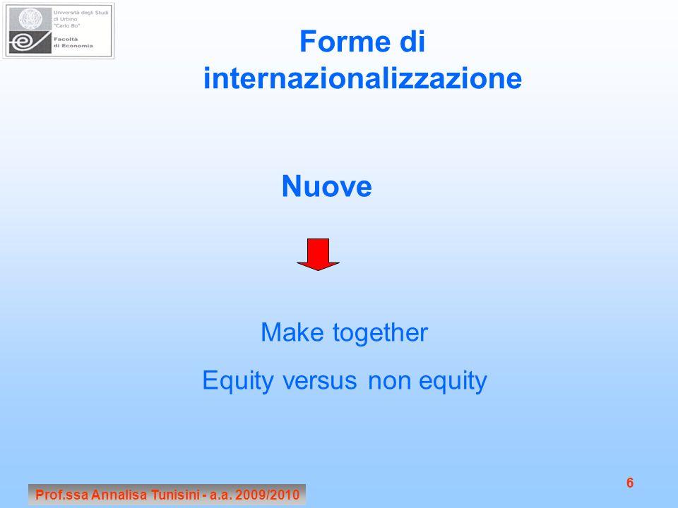 Forme di internazionalizzazione Nuove