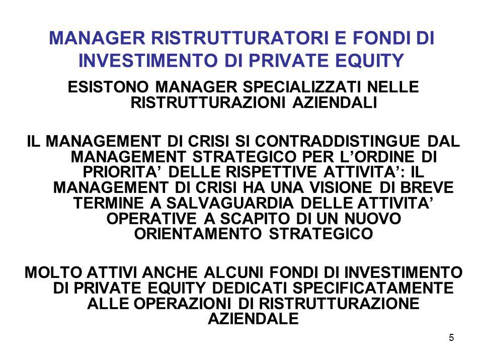 MANAGER RISTRUTTURATORI E FONDI DI INVESTIMENTO DI PRIVATE EQUITY