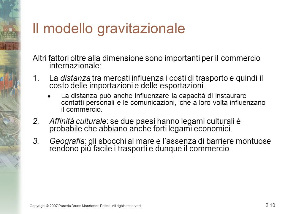 Il modello gravitazionale
