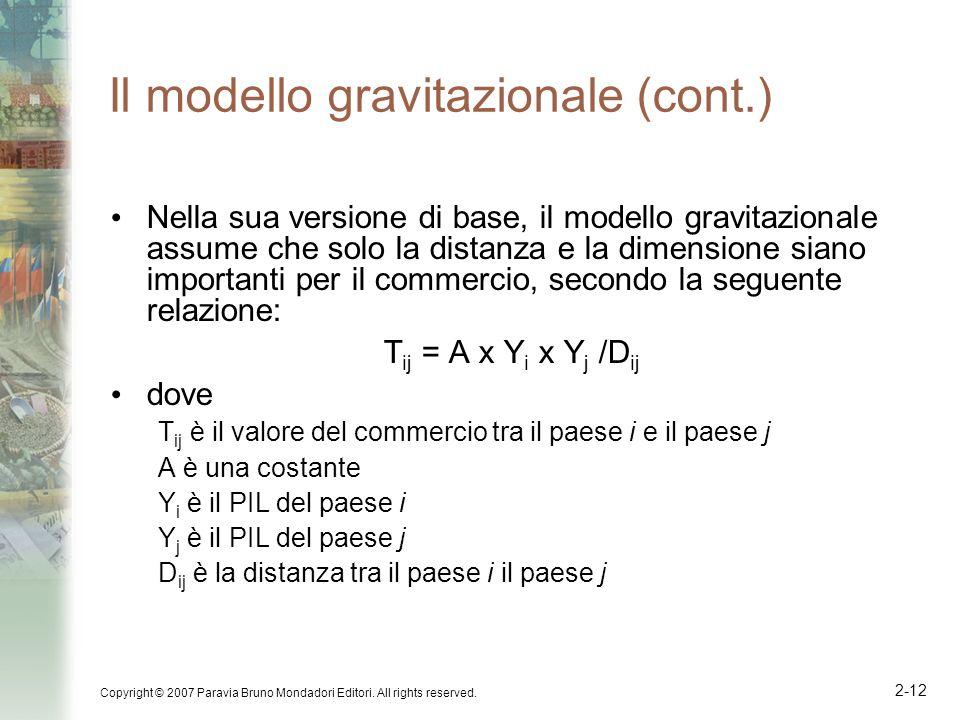Il modello gravitazionale (cont.)