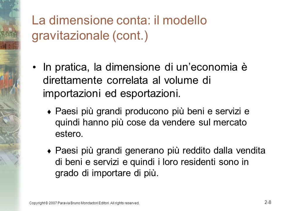La dimensione conta: il modello gravitazionale (cont.)