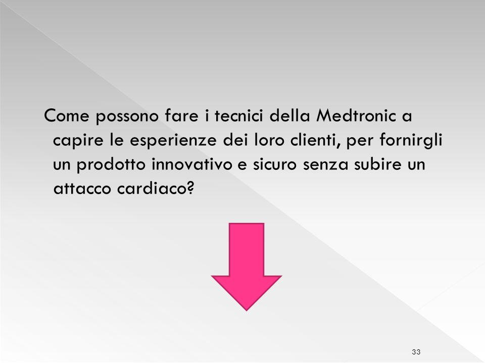 Come possono fare i tecnici della Medtronic a capire le esperienze dei loro clienti, per fornirgli un prodotto innovativo e sicuro senza subire un attacco cardiaco