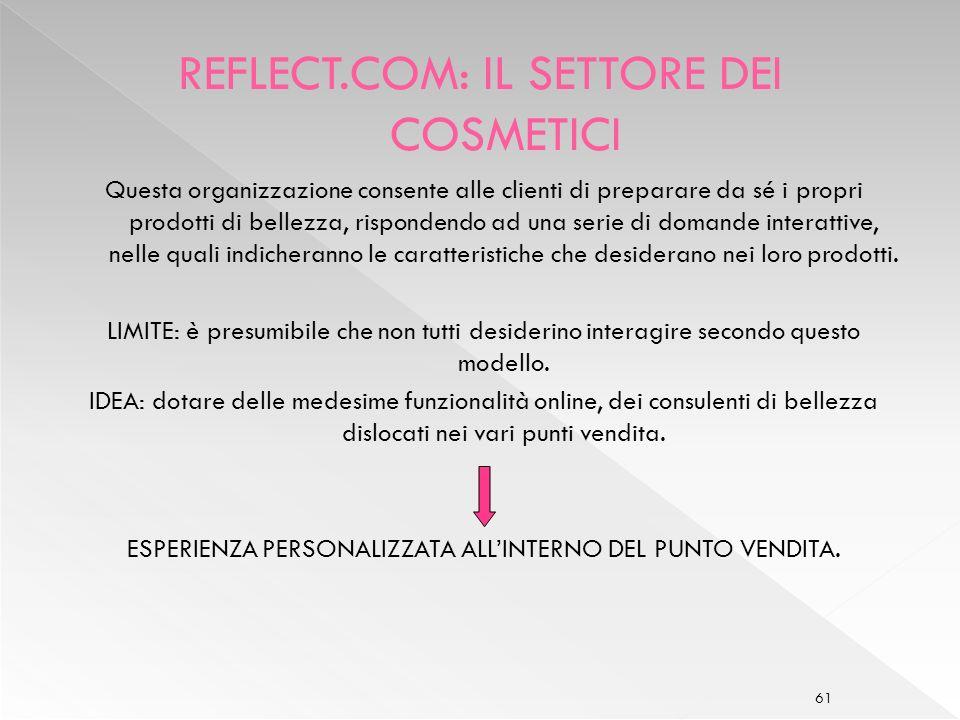 REFLECT.COM: IL SETTORE DEI COSMETICI
