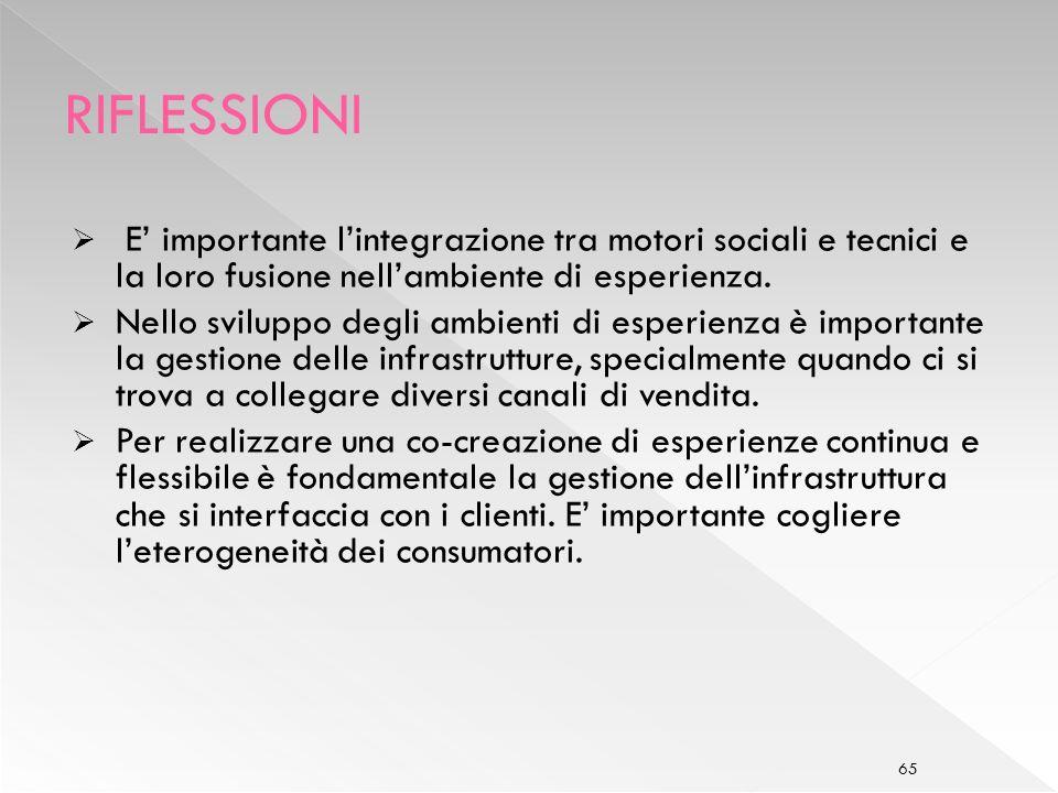 RIFLESSIONI E' importante l'integrazione tra motori sociali e tecnici e la loro fusione nell'ambiente di esperienza.