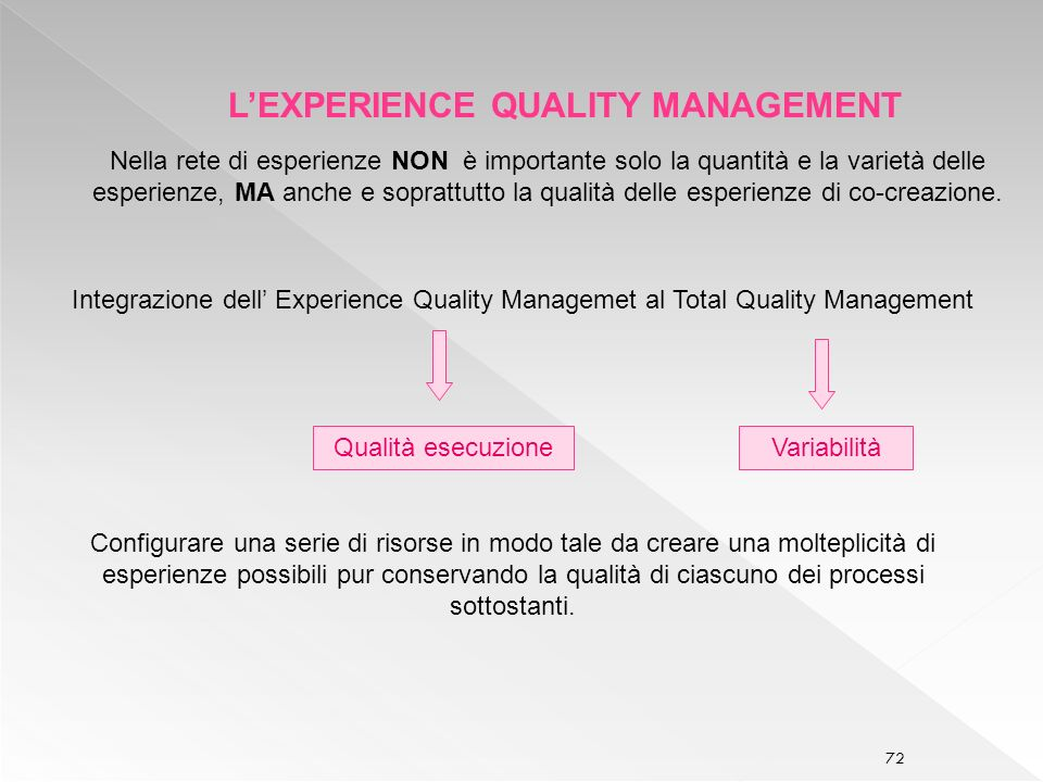 L'EXPERIENCE QUALITY MANAGEMENT