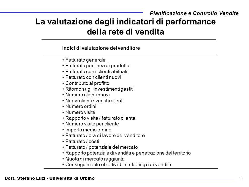 La valutazione degli indicatori di performance