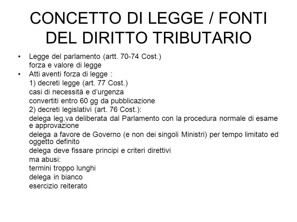 CONCETTO DI LEGGE / FONTI DEL DIRITTO TRIBUTARIO