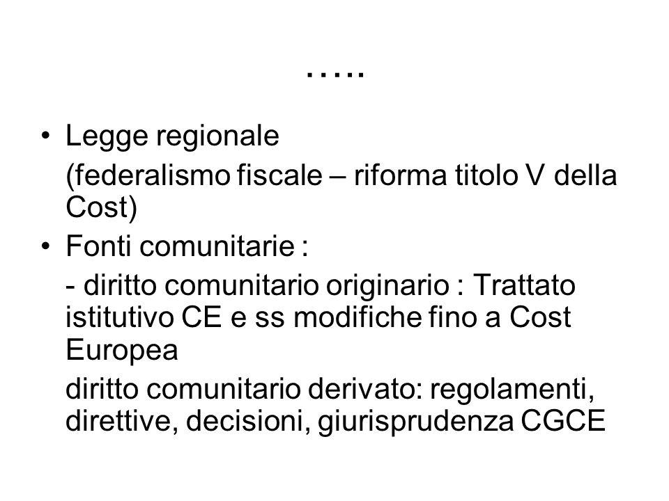 ….. Legge regionale. (federalismo fiscale – riforma titolo V della Cost) Fonti comunitarie :