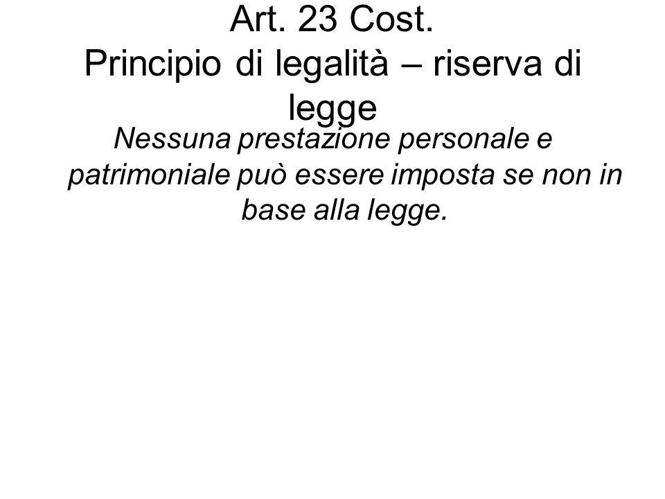 Art. 23 Cost. Principio di legalità – riserva di legge