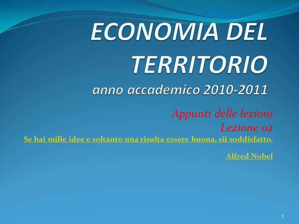 ECONOMIA DEL TERRITORIO anno accademico 2010-2011