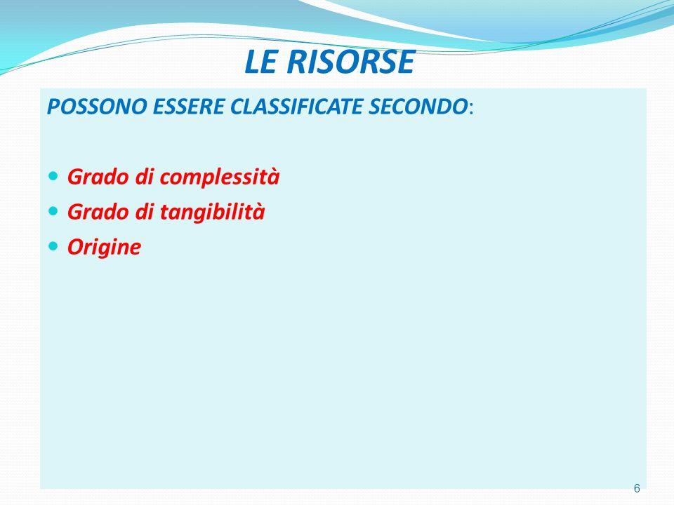 LE RISORSE POSSONO ESSERE CLASSIFICATE SECONDO: Grado di complessità