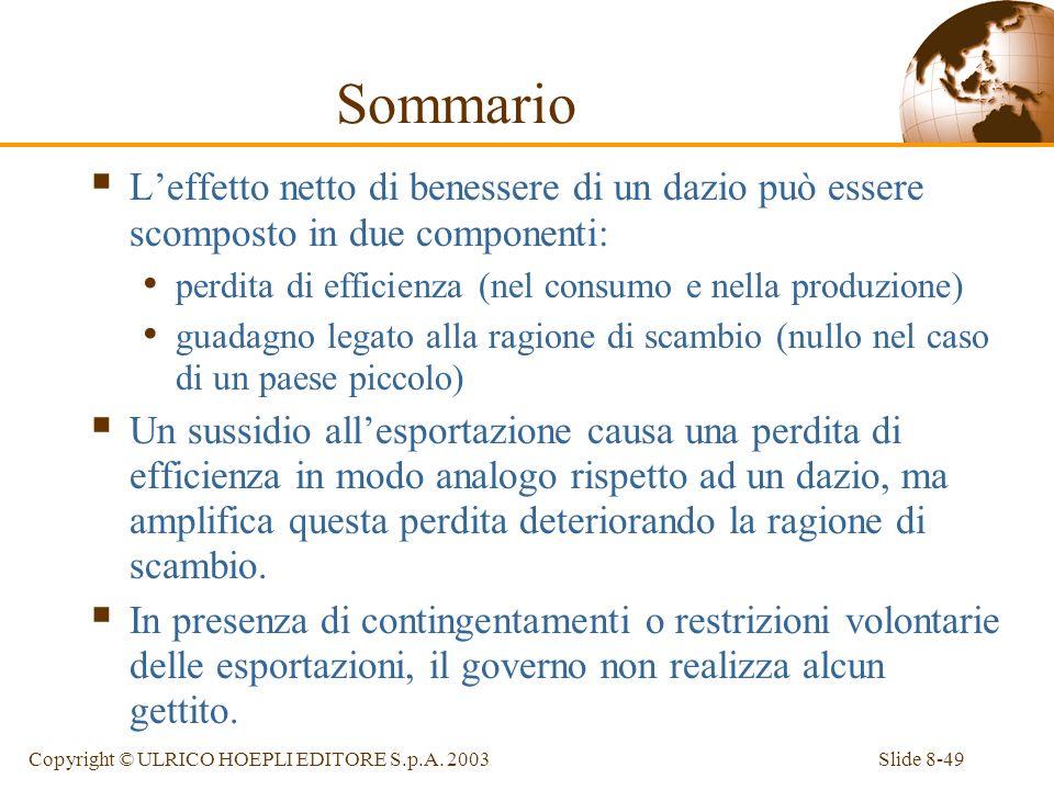 Sommario L'effetto netto di benessere di un dazio può essere scomposto in due componenti: perdita di efficienza (nel consumo e nella produzione)