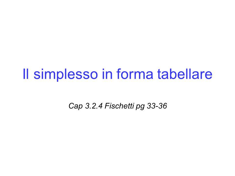 Il simplesso in forma tabellare