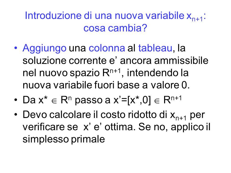 Introduzione di una nuova variabile xn+1: cosa cambia