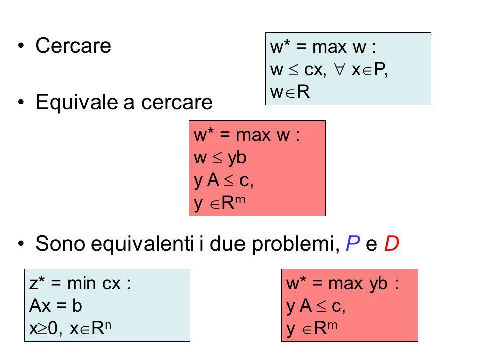 Sono equivalenti i due problemi, P e D