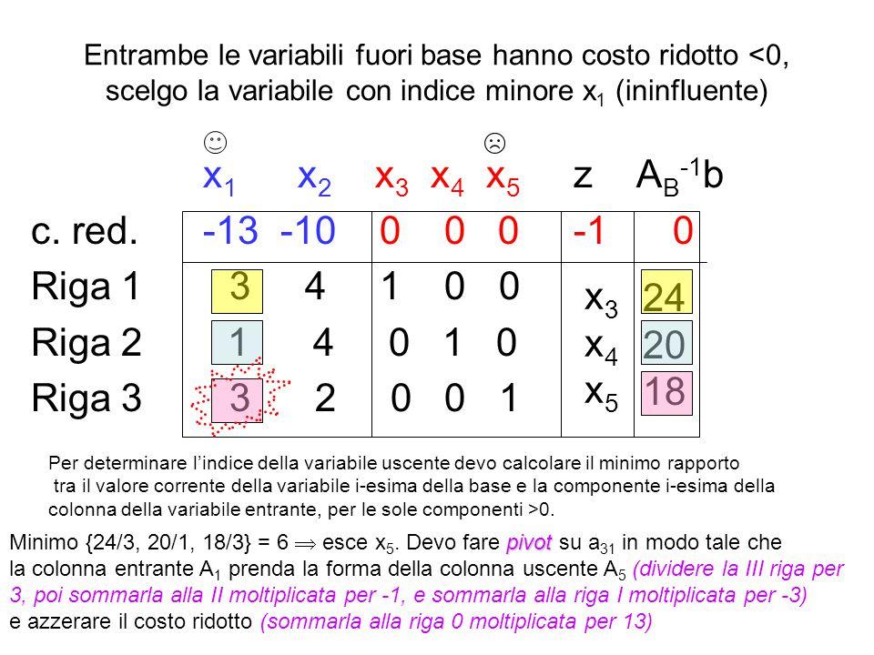 x1 x2 x3 x4 x5 z AB-1b c. red. -13 -10 0 0 0 -1 0 Riga 1 3 4 1 0 0