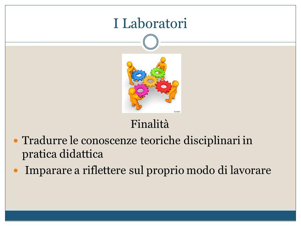 I Laboratori Finalità. Tradurre le conoscenze teoriche disciplinari in pratica didattica.