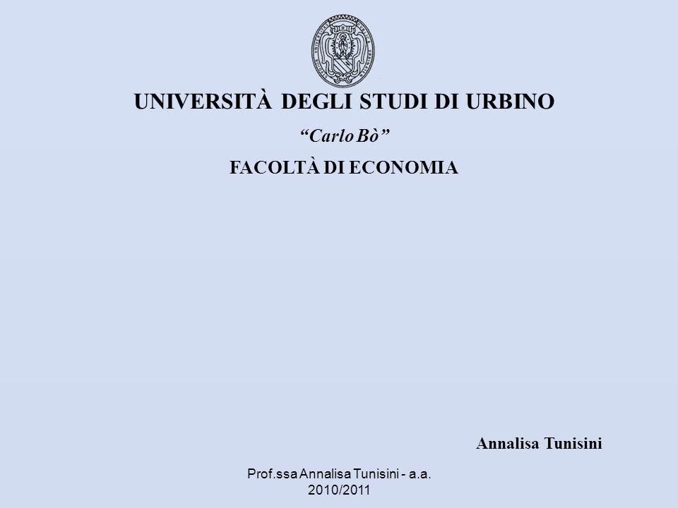 UNIVERSITÀ DEGLI STUDI DI URBINO Carlo Bò FACOLTÀ DI ECONOMIA