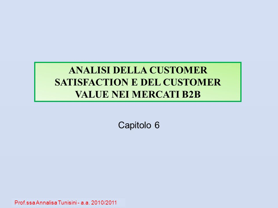 ANALISI DELLA CUSTOMER SATISFACTION E DEL CUSTOMER VALUE NEI MERCATI B2B